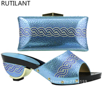 Sky Blue Shoes And Bag Sets For Women Italian Ladies Shoe And Bag Set Decorated With