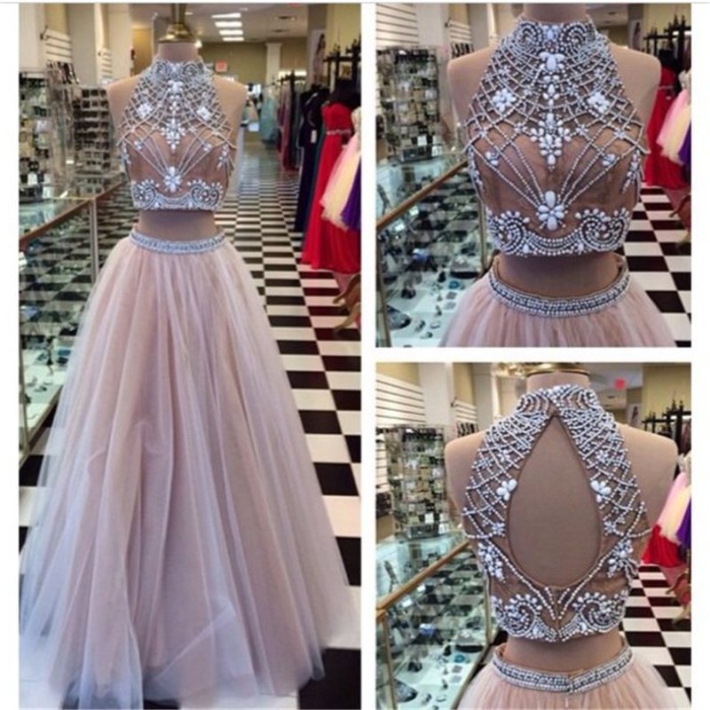 Online Shop Custom Made Sexy Two Piece Beaded High Neck Formal