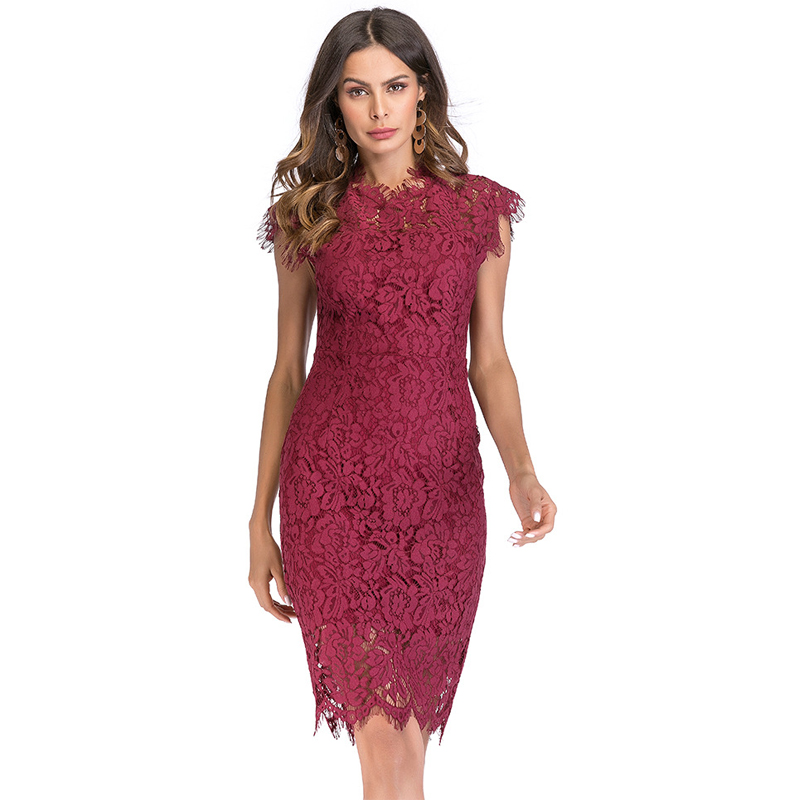 d177d77a060a3 US $19.48 43% OFF Vintage Burgundy Summer Lace Dress Sheath Bodycon Party  Dress Slim Black Vestidos 2019 Elegant Hollow out Robe Retro Sexy Dress-in  ...