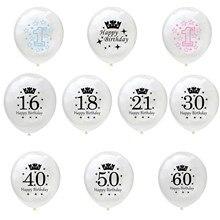 Número branco impresso, 5 pçs/set 12 Polegada impresso 16/18/21/30/40/50/60 látex redondo balão para decoração da festa de aniversário, mãe, pai, crianças, bebê, primeiro ano