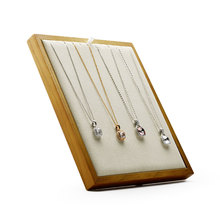 FANXI  New Solid Wood Pendant Necklace Display Stand Earring holder Beige or Dark Gray Microfiber insert jewelry Exhibitor