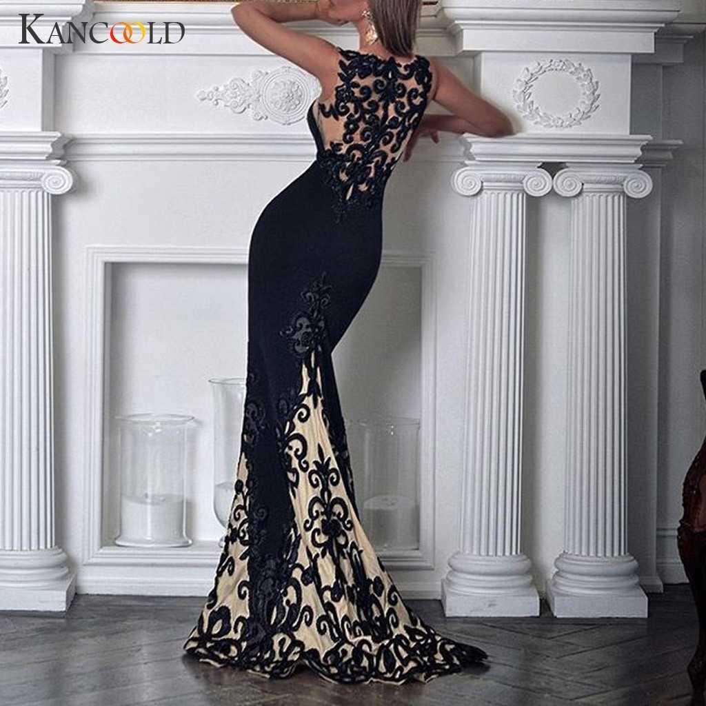 KANCOOLD שמלת נשים סקסי תחרה ללא שרוולים Slim קיץ שמלת חצוצרה/בת ים הולו מקסי מסיבת אימפריה שמלת נשים 2019MAY23