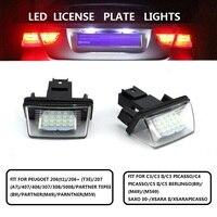2PCS/SET LED REAR LICENSE PLATE LIGHTS BRAKE LAMP FIT FOR PEUGOET 206 207 406 407 307 308 5008 CITROEN C3 C5 C4 XSARA CAR
