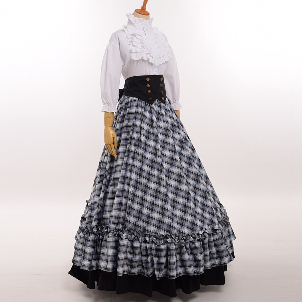 Retro Victorian Civil War Plaid Dress Reenactment Theater Lolita Corset Costume