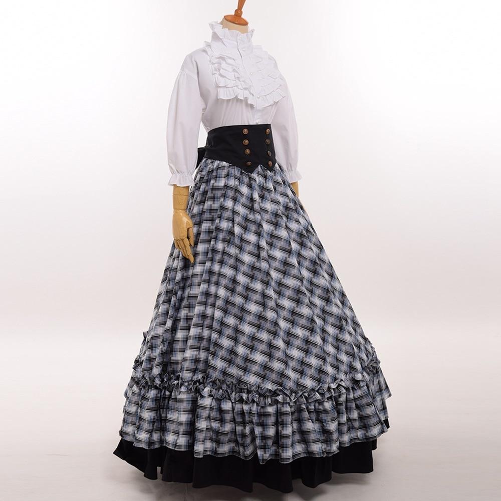 Rétro victorien guerre civile Plaid robe reconstitution théâtre Lolita Corset Costume