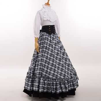 Retro Victorian Civil War Plaid Dress Reenactment Theater Lolita Corset Costume - DISCOUNT ITEM  7% OFF All Category