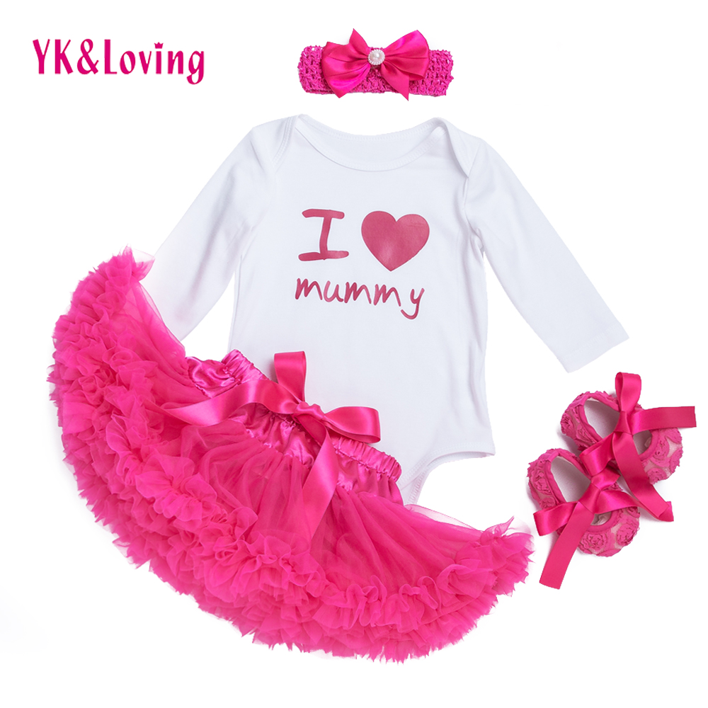 For Newborn Tutu Skirt Baby Girl Clothes Romper I Love Mummy Girls Clothing Sets Cotton Long Sleeve Bodysuit 4 pcs/set Hot Pink santa baby girl christmas outfit set tutu children girls 3 piece romper tutu skirt toddler tutus party dress infant clothing