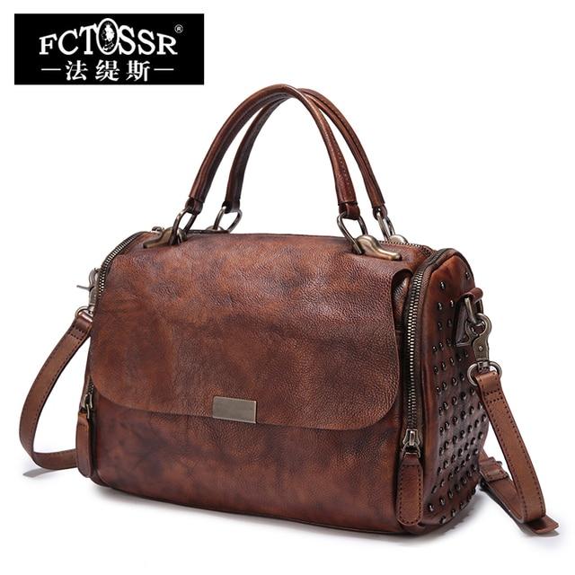 Lady Big Handbags Soft Genuine Leather Shoulder Sling Bags Handmade Retro Messenger Bags Women Purses Top-Handle Handbag