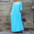 Preself Fashion Casual Autumn Sexy Women Ladies Off Shoulder Maxi Knit  Long Oversized Dress Plus Size Abaya Vestidos 6XL