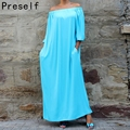 Preself Sexy Oversized Off Shoulder Maxi Dress Women Knit Fashion Dresses Casual Vestidos Autumn Plus Size 6XL