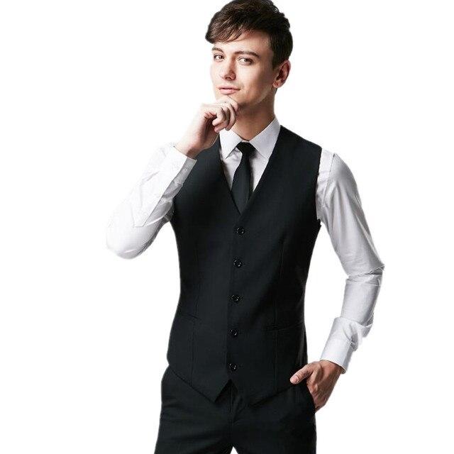 91e23e1f1d8c1d mens vest fashion wedding suit vest slim fit business man single-breasted  black vest