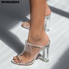 TINGHON Sexy Women Pumps Transparent Square High Heels Slip-On Gladiator Shallow Pointed Toe Casual Dance 35-40