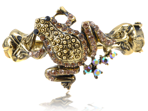 Golden Tone   Blk Crystal Rhinestone Toad Frog Reptile Cuff Bracelet Bangle [Fashion Jewelry]