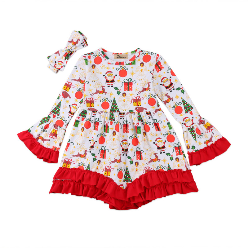 a8f2f69a91aac Christmas Toddler Kids Baby Girls Xmas Gifts Print Ruffles Long Sleeve Tutu  Dress Tops Party Princess
