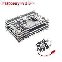 New Arrival Raspberry Pi 3 Model B+ Case 9-Layers Acrylic Case Box Enclosure with Cooling Fan only for Raspberry Pi 3 Model B+