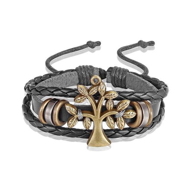 Мужской кожаный браслет janeyacy черный цветной в простом стиле