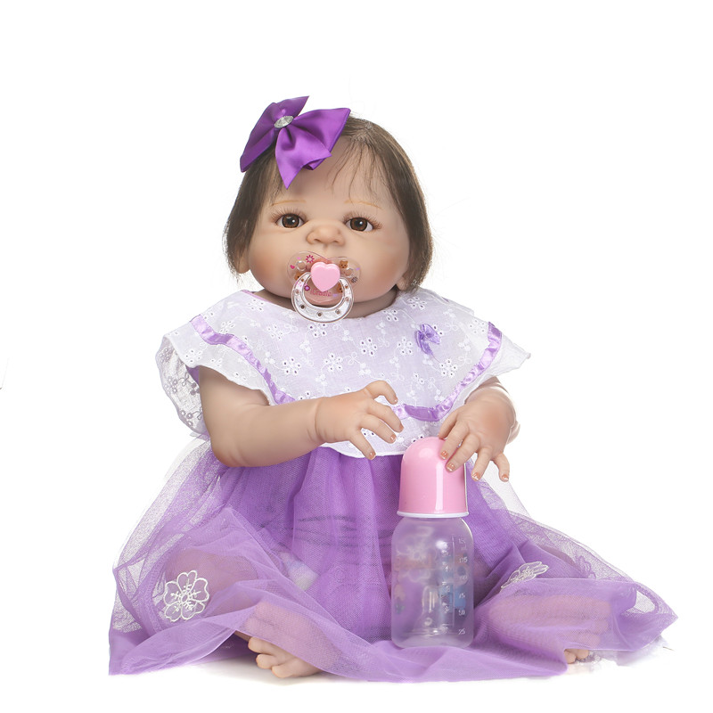 Full silicone reborn baby girl dolls 23NPK reborn babies purple dress princess dolls rooted hair can enter water bonecasFull silicone reborn baby girl dolls 23NPK reborn babies purple dress princess dolls rooted hair can enter water bonecas