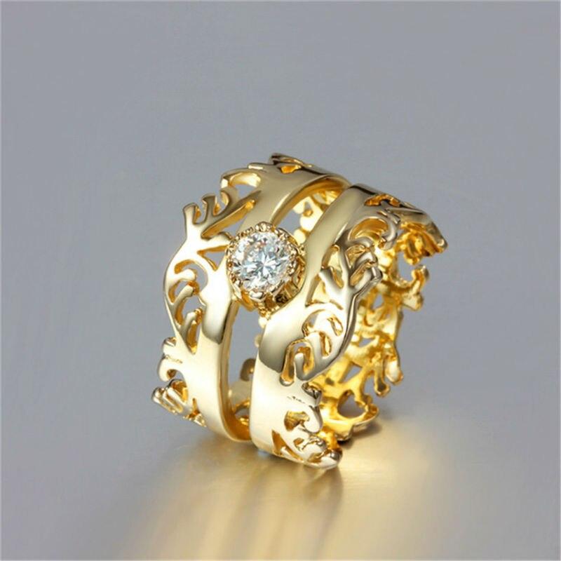 Meio Dedo De Cristal de Zircão Anéis de Casamento Moda Jóias Charme Anel De Noivado De Ouro Placa Presente de Aniversário Do Partido