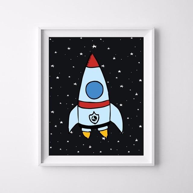 Rocket y espacio niños vivero cartel impresión del cartel del arte ...