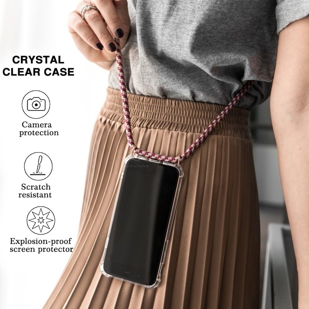For Iphone 7 8 Plus 6s X XS 6 6s Plus Transparent Soft Silicone With Lanyard Necklace Shoulder Neck Strap Rope Phone Case