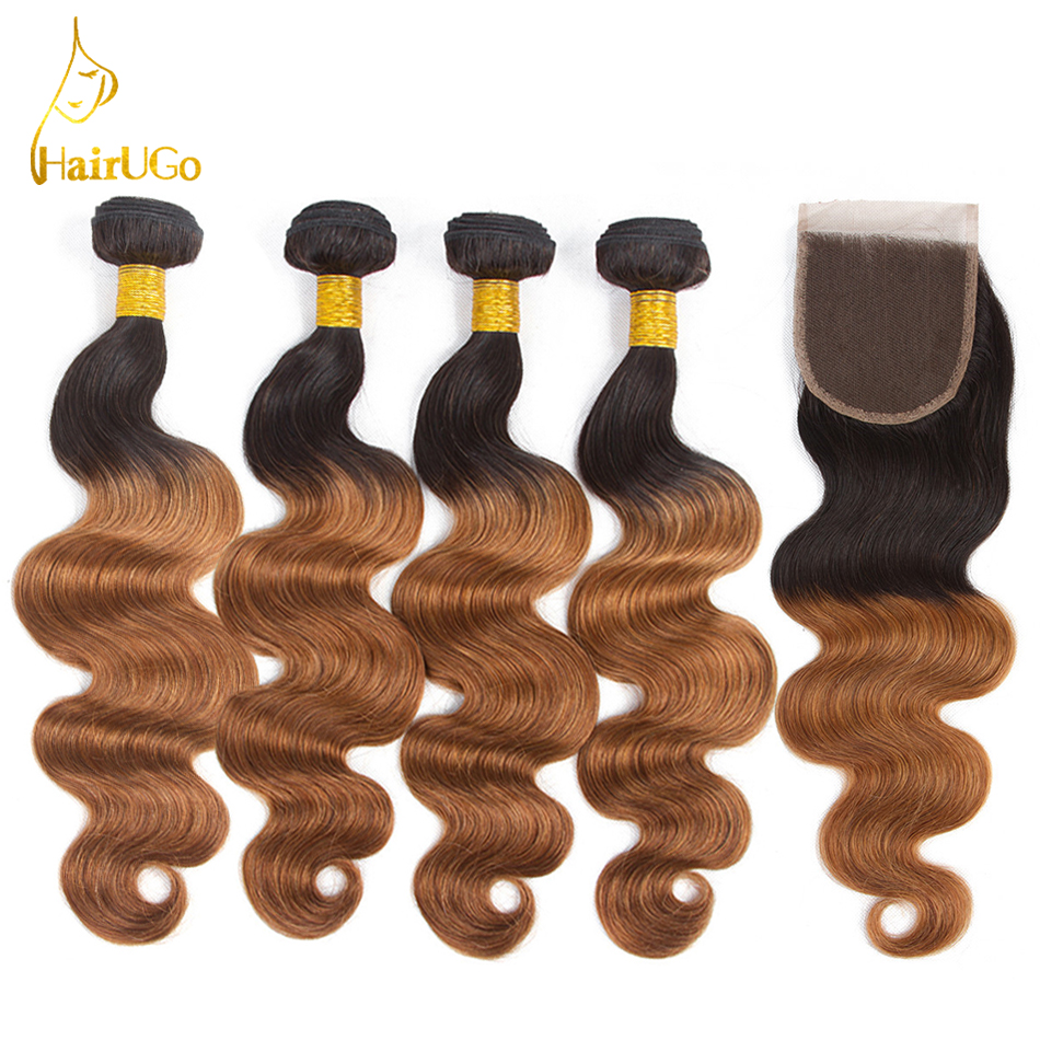 HairUGo Hair Pre colored Brazilian Body Wave 4 Bundles With Closure Color 1B 30 Non Remy