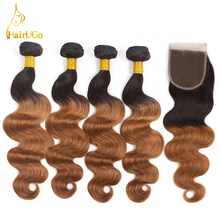 airUGo Hair Pre -colored Brazilian Body Wave 4 Bundles With Closure Color #1B/30 Non Remy Human Hair Weave Bundles With Closure