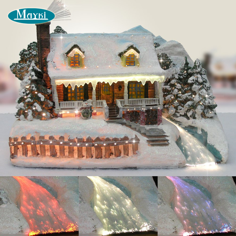 Fiber optic lighted gingerbread christmas house with 6W CREE RGB LED 160pcs 2m optical fibre and remote control