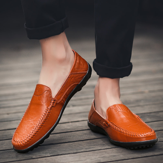 2019 Casual Shoes Men Loafers Genuine Leather Spring/Autumn Mens moccasins Shoes Slip On Mens Leather Flat Shoes Big Size Men