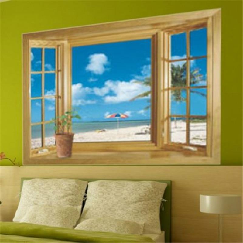 Super 3D Beach Wood Window View Wall Sticker Home Decor Vinyl Art Decal Mural  Beach Fake