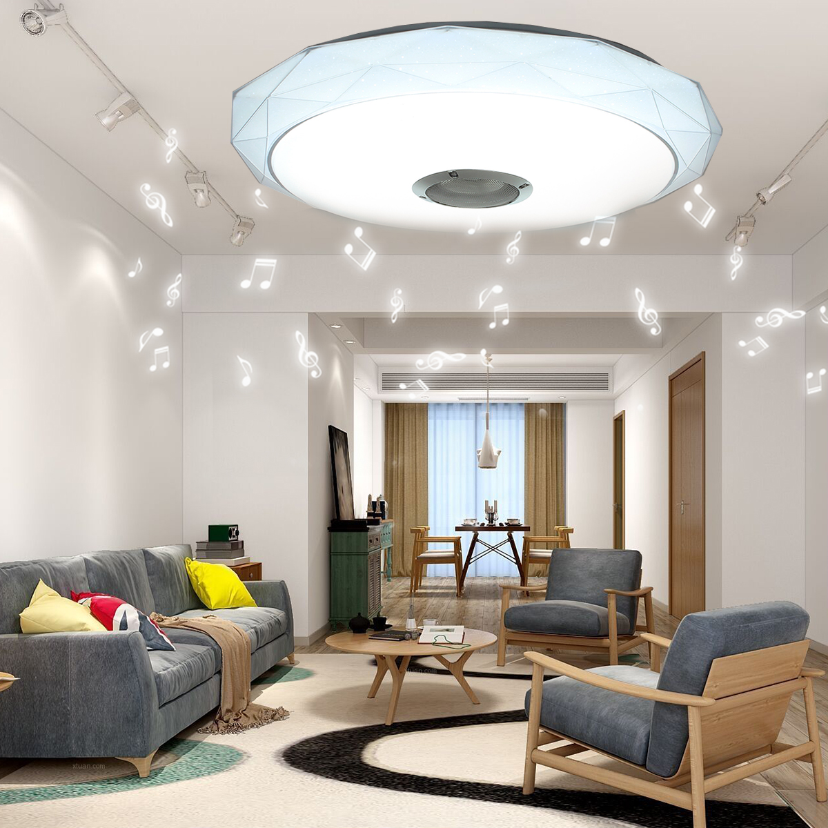 Dimmable LED Ceiling Lights Bluetooth Speaker Smart Remote Control RGB LED Music Loundspeaker Lamp Living Room Bedroom Fixture