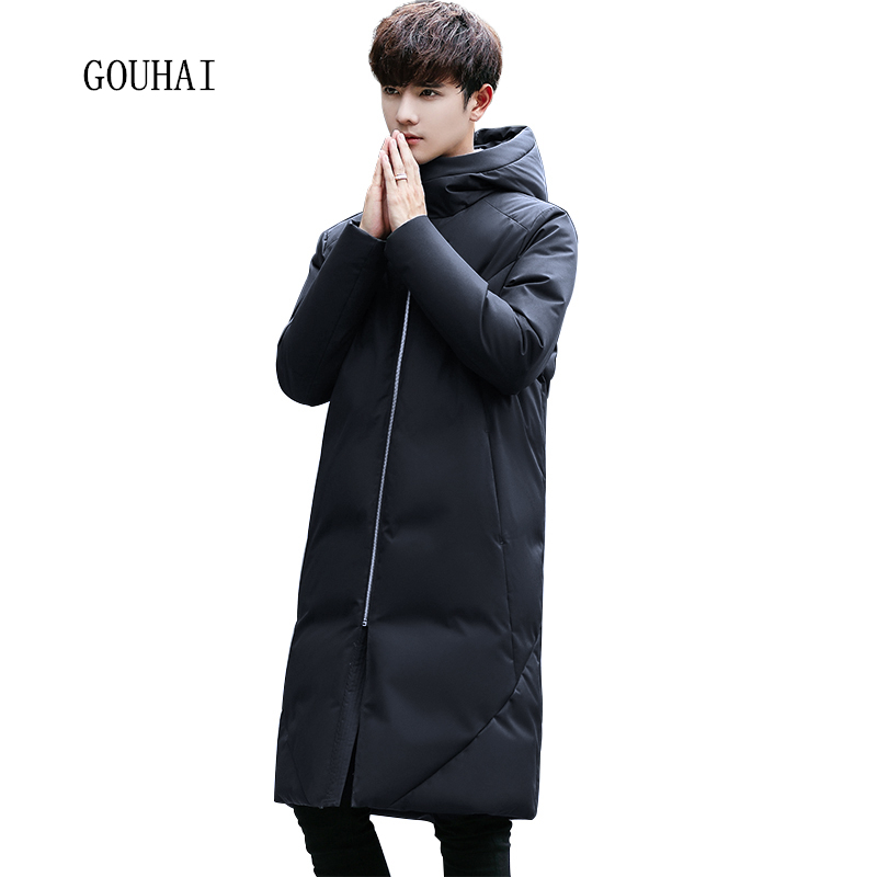 2017 Fashion Solid Hooded Winter Jacket Mens 90% White Duck Down Jacket Men Warm X-Long Down Coat Men Feather Jacket Top Quality