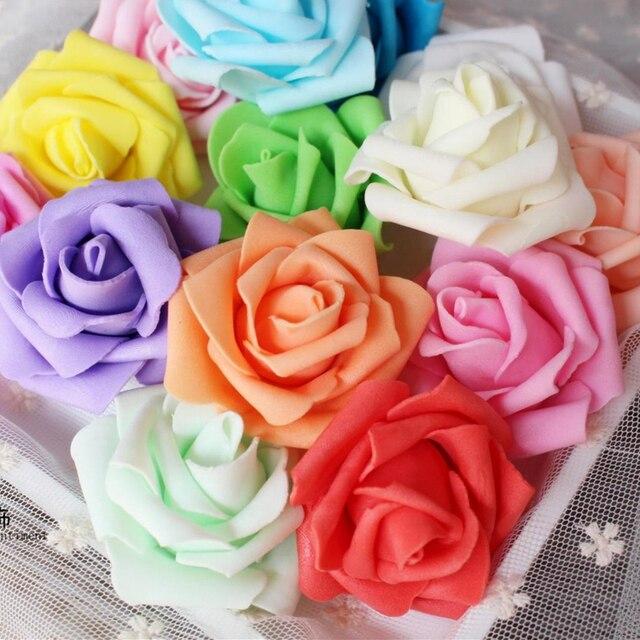 Hot 1 Pc 8cm Artificial Foam Rose Flowers Wedding Decoration Hand Make Craft Sbooking