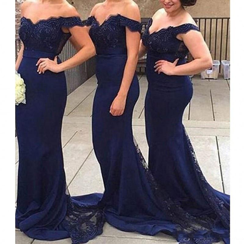Robe de demoiselle d'honneur bleu marine sirène trompette robes de demoiselle d'honneur à épaules dénudées élégant Applique dentelle Train vestido madrinha