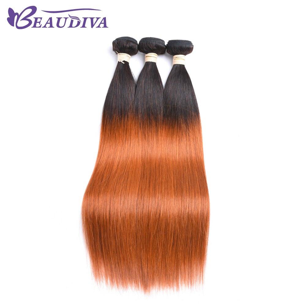 BEAUDIVA Pre-Colored T1B/350 Straight Human Hair Weaving 3 Bundles Hair Weaving 8-26inch Free Shipping