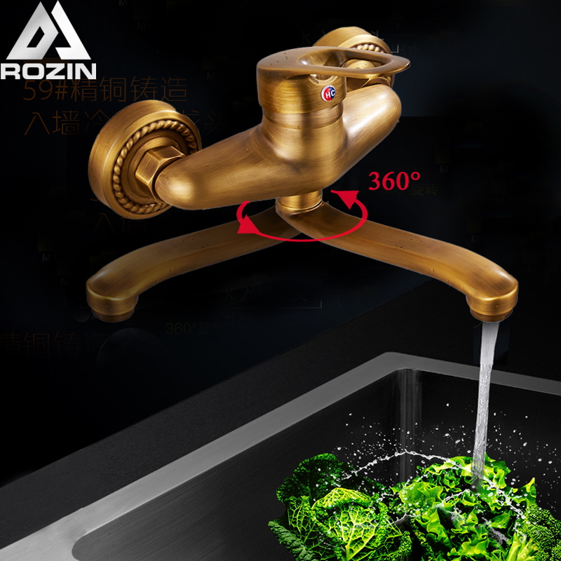 Antique Brass Kitchen Faucet Cold and Hot Water Taps Wall Mount 360 Rotation Bathroom Sink Tap 25cm Brass Long Nose Outlet wholesale and retail swan bathroom sink faucet solid brass hot and cold water taps antique brass