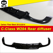 W204 Carbon Fiber Rear Bumper Diffuser Lip Exhaust Guard For Mercedes Benz C-Class C180 C200 C280 C63 4Door Sedan 2012-2014