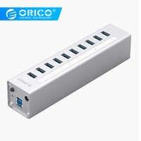 In Alluminio ORICO 10 Porte Multi USB3.0 HUB di Interfaccia Ad Alta Velocità 5Gbps Splitter Per Il Computer Portatile Del PC Del Computer 12V di Alimentazione adattatore Argento