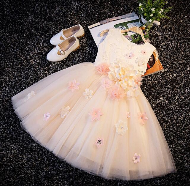 Flowers With Sequin Appliques Girl Champagne Christening Wedding Party Pageant Dress Baby ball Gowns Child Bridesmaid Clothing vestido handmade christening wedding party pageant dress baby first communion toddler gowns child bridesmaid ballet dress