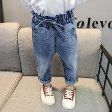Джинсы для малышей Новинка года; Корейская версия длинных брюк с высоким поясом для девочек модные повседневные детские штаны