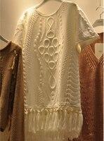 2017 Women Autumn Winter Sweater Dress Lady Short Sleeved Fashion Tassel Loose Smock Knit T Dress