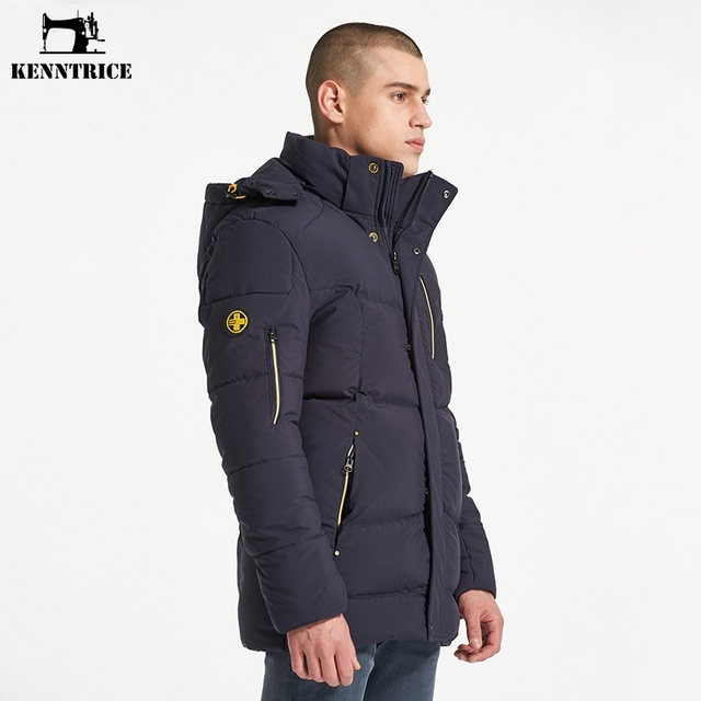 KENNTRICE Men's Winter Jacket Coats Brand Thick Cotton Padded Men Parkas Stand Collar Casual Slim With Hooded