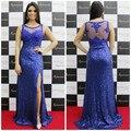 Long Royal Blue Sequins Sheer Celebrity Dress Formal Evening Dress 2016 with Split