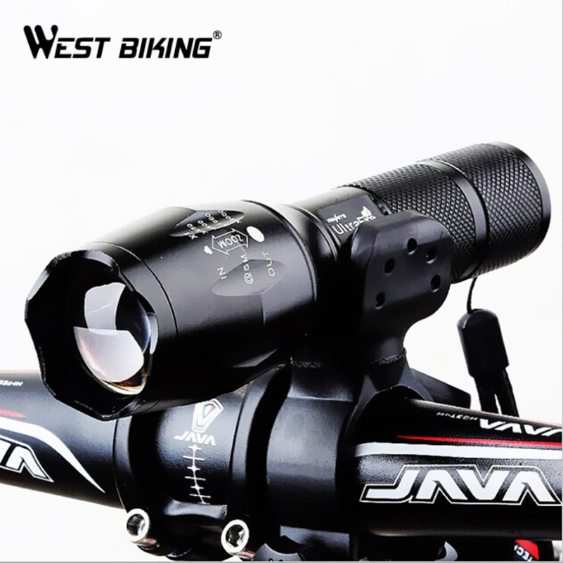 West Biking Bicycle Light Front Flashlight Bike LED Lamp Camping Cycling Front Head Strong Light Torch Larm Cycling Light