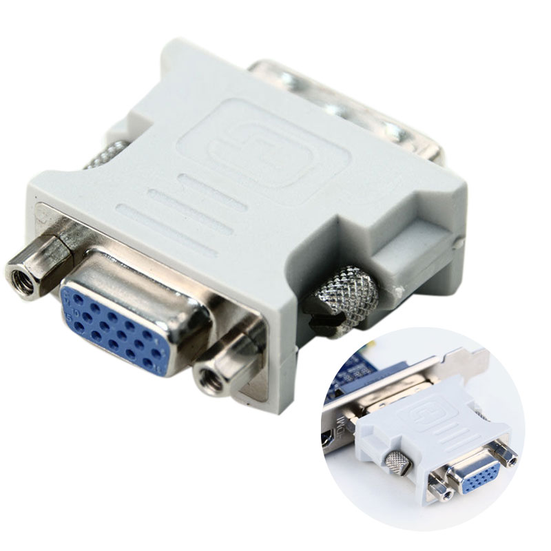 New DVI-I Dual Link24+5 Male To HD 15 Pin VGA SVGA Female Video Card Monitor LCD Converter Adapter