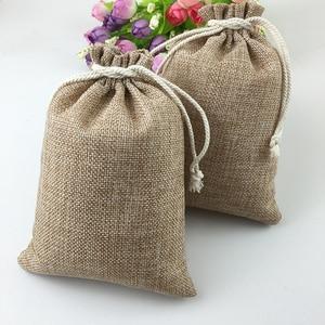Image 4 - 60pcs Jute Bags Natural Burlap Hessia Gift Bags Wedding Party Favor Pouch Drawstring Jute Gift Bag Packaging Bag Storage Travel