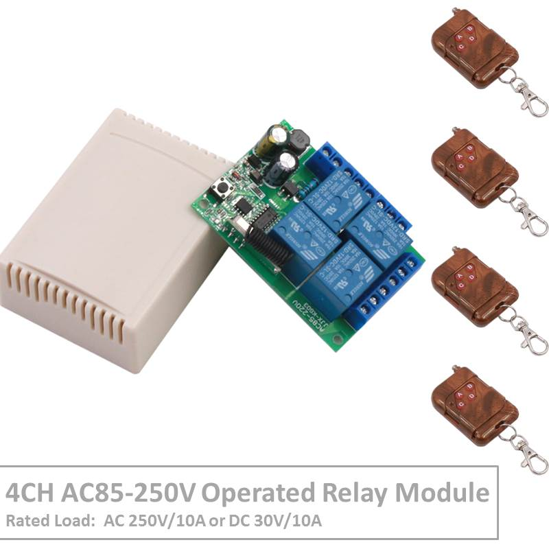 Remote Control 433Mhz 85~250V 4CH rf Switch Relay Receiver and Transmitter for Remote Garage Control and Electric curtain Switch