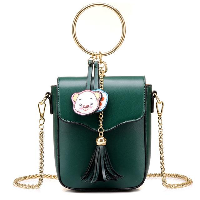 Women Fashion Circle Design Handbags Shoulder Bags With Tassel Decoration For Las Mini Flap Chains Messenger