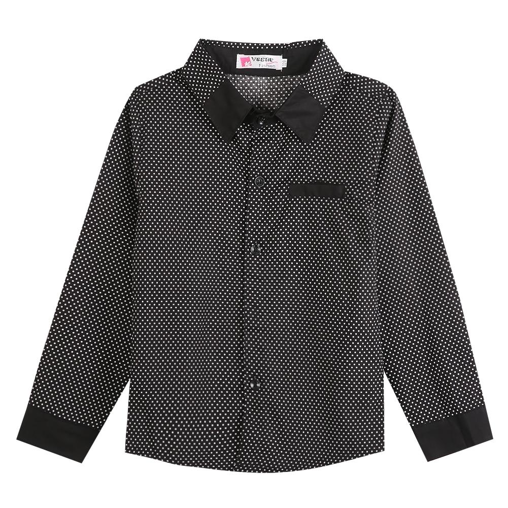 2016 Herbst Jungen Formalen Ebene Langärmeliges Hemd Partei Polka Dot Shirts 3-8years Kinder Neue Mode Jungen Shirts Gentleman
