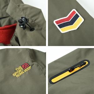 Image 5 - 2 ב 1 מעיל גברים חורף מעיל עמיד למים Softshell M 5XL Windproof צבאי בתוספת גודל עבה צמר מעיילי Loose מעיל Windproof