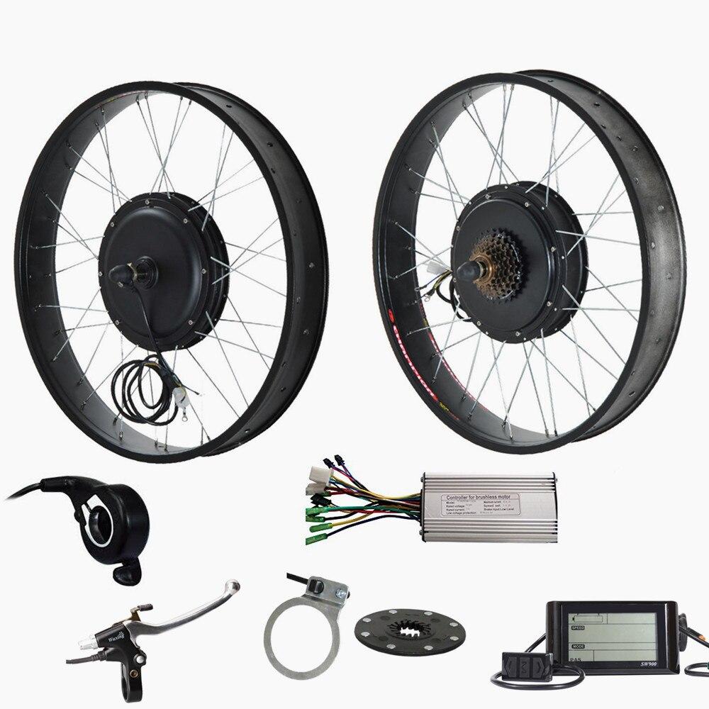 26 x 4.0 électrique graisse vélo arrière moteur roue 48 v 1500 w vélo électrique vélo kit de conversion pour graisse vélo
